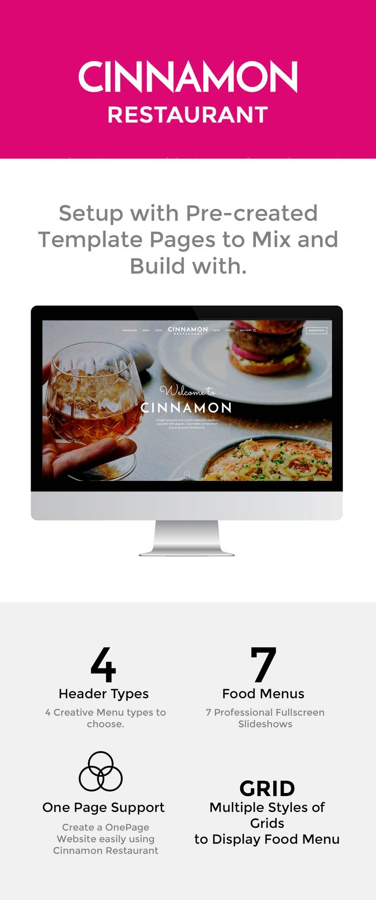 Cinnamon Restaurant Theme is a responsive multipurpose restaurant WordPress theme which is designed for all types of food business related websites. It can also be used to create a One Page restaurant website. The theme can be used for any food business such as eatery, food joint, barbecues, small to large restaurants, bakery, cafe, coffee, grill-houses, fast-food, and pizzerias. Restaurant reservation button is easily accessbile for the visitor either as a modal slide window with form or…