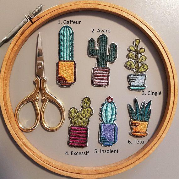 Écusson cactus thermocollant mignon avec trait de personnalité