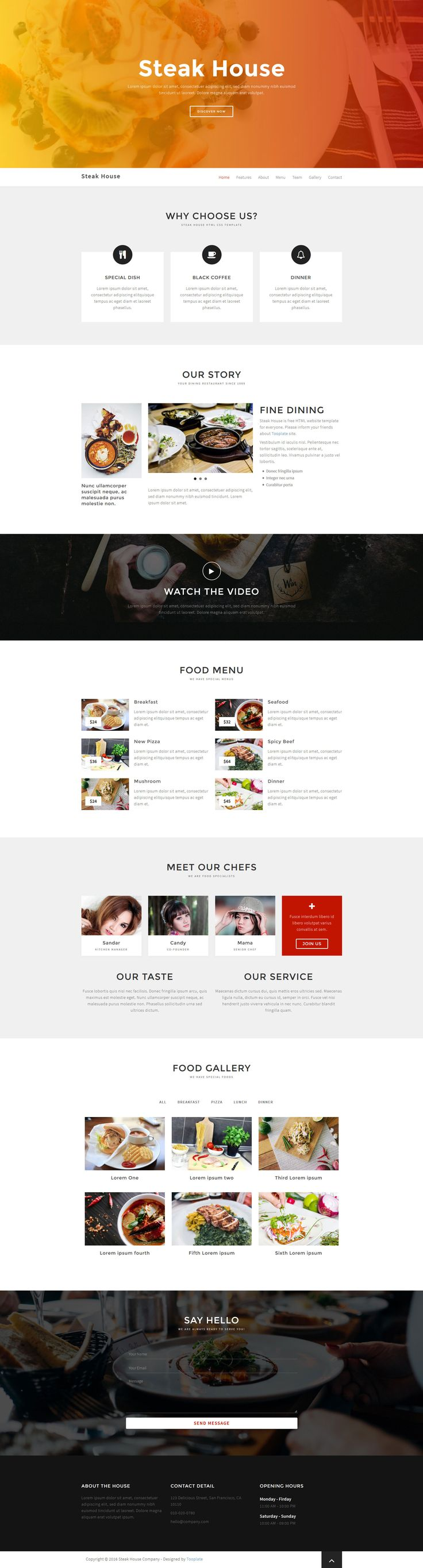 Steak House is a free responsive HTML5 Bootstrap One page HTML5 website template. It features Food menu, slider, gallery, about, contact sections and a semi-transparent CSS gradient background images. Built with HTML5 and CSS3 and based on Bootstrap 3.