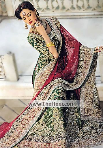 BW6383 Pakistan Green Banarasi Jamawar Crinkle Chiffon Lehnega Bollywood Green Asian Bridal Lehenga, Asian Bridal Green Bollywood Lengha Lehnga, Indian Lehenga Bridal Wear