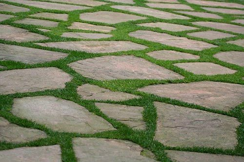 Love the irregular edges, and so easy to mow! I wonder how it would look as stained concrete!? #PinMyDreamBackyard