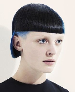 A short black straight multi-tonal coloured avant-garde hairstyle by Saco
