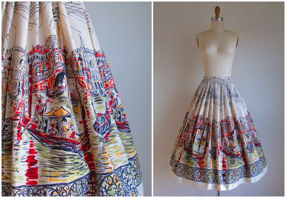 1950s Skirt / Vintage 1950s Circle Skirt / by CanaryClubVintage