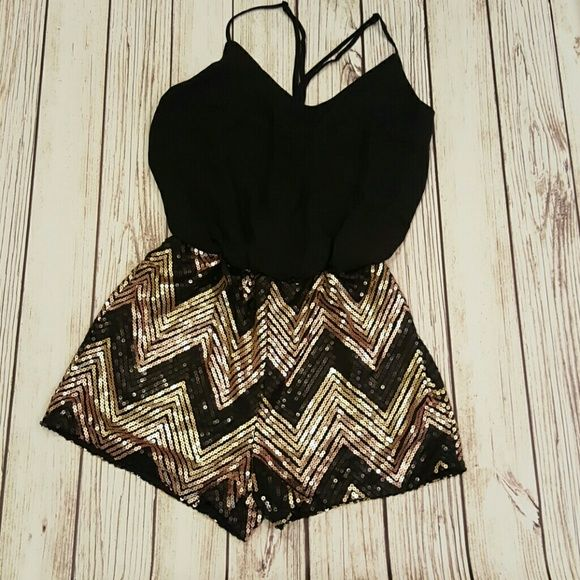 Sparkly Romper Super cute Romper with gold and black sequins. With adjustable straps. Poetry Pants Jumpsuits & Rompers