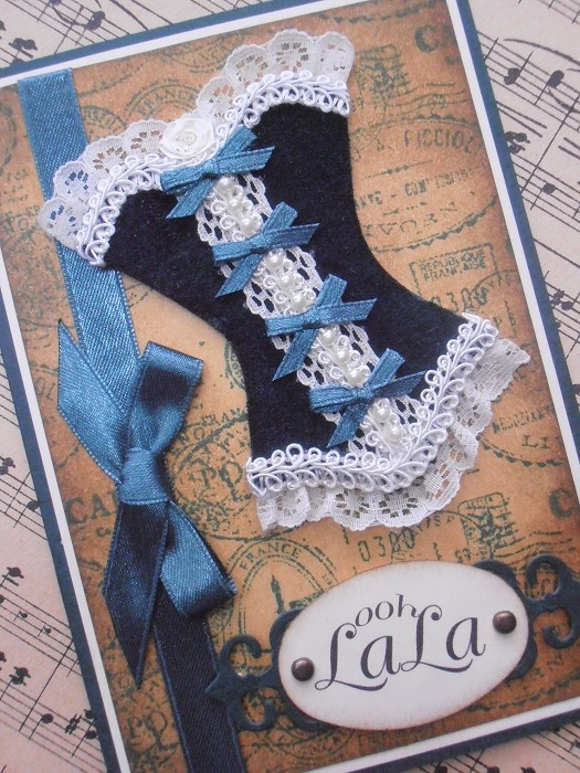 """Ooh La La"" French Corset Designer Handmade Card - Suiltable for All Occasions - by ClassyCreationsForYou on madeit"