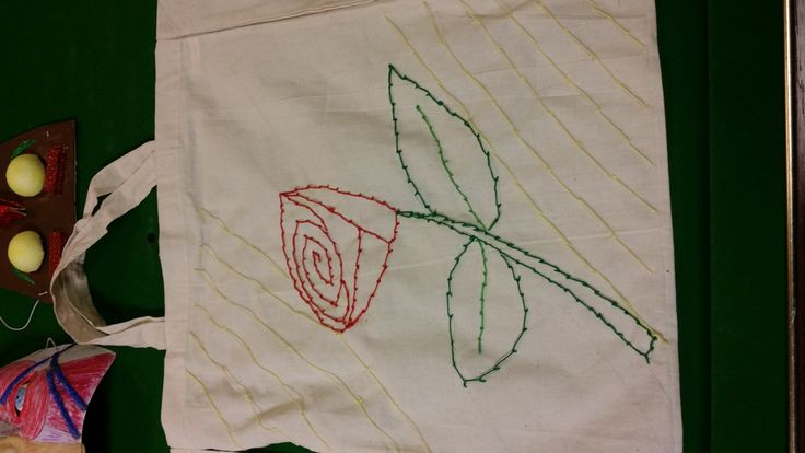 An embroidered rose created by one of our clinical trial volunteers