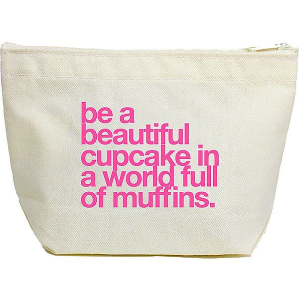 Dogeared be a cupcake lil' zip makeup bag, canvas/pink 1 ea found on Polyvore