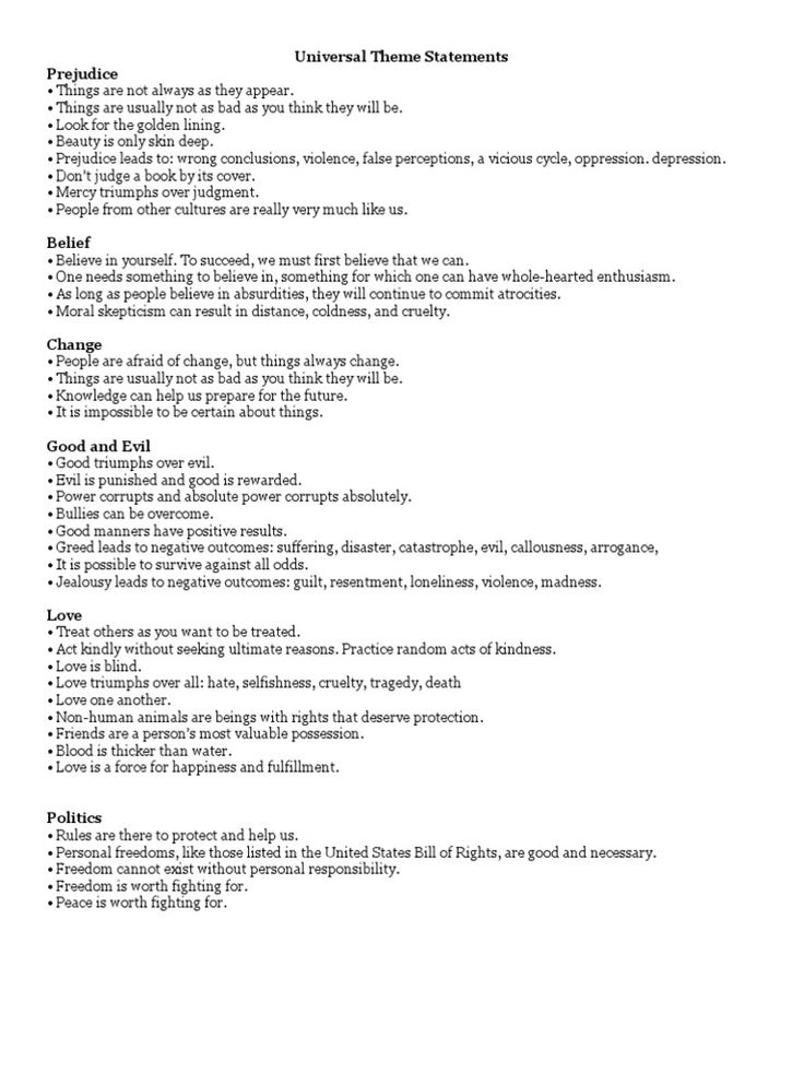 theme statement list Free download as Word Doc (.doc