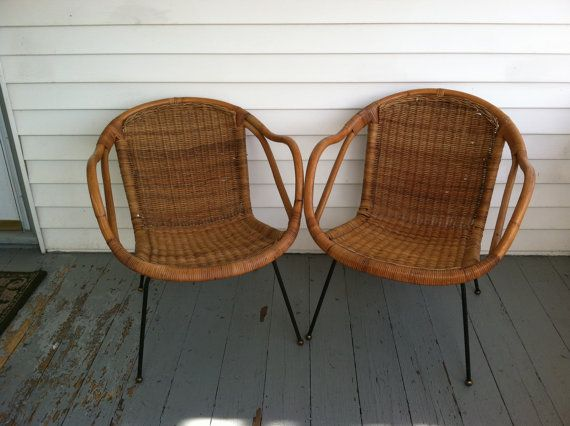 Reserved For Nancy MIDCENTURY RATTAN BASKET Chairs U0026 Table Iron Rattan  Wicker California Asia Saltierini Mid Century Modern Rustic