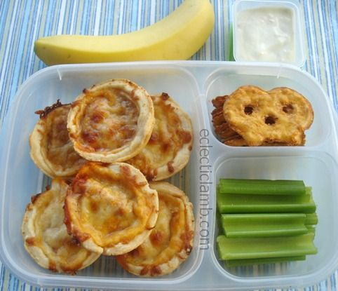 Pizza Tarts, Banana, Celery with Blue Cheese Dressing, and Buffalo Wing Pretzel Crisps