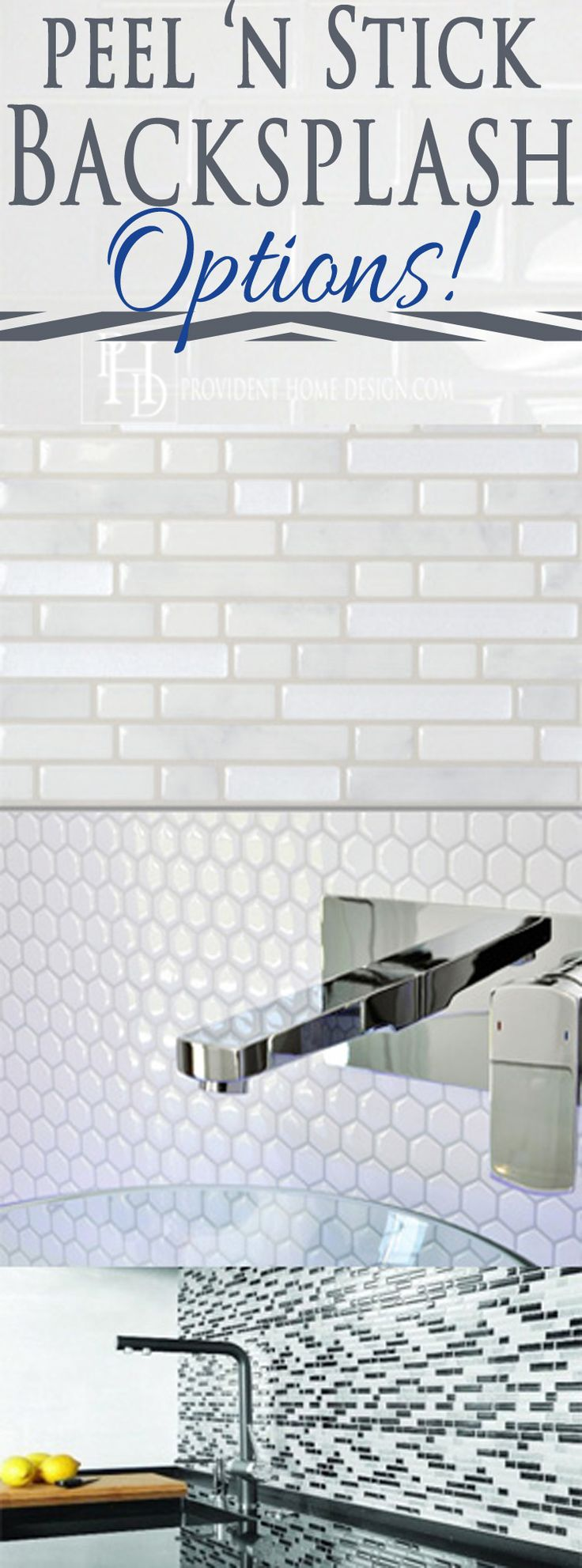 Want an attractive backsplash but no wet saw or grout mess? Check out these peel n' stick backsplash options! Who knew?