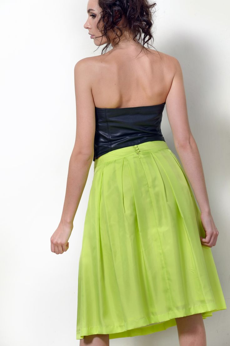 "Silk skirt in Lemon-Lime ""Catch Me If You Can"" style with black leather bustier ""Diana Prince"" SHOP NOW at www.dontdopretty.com"