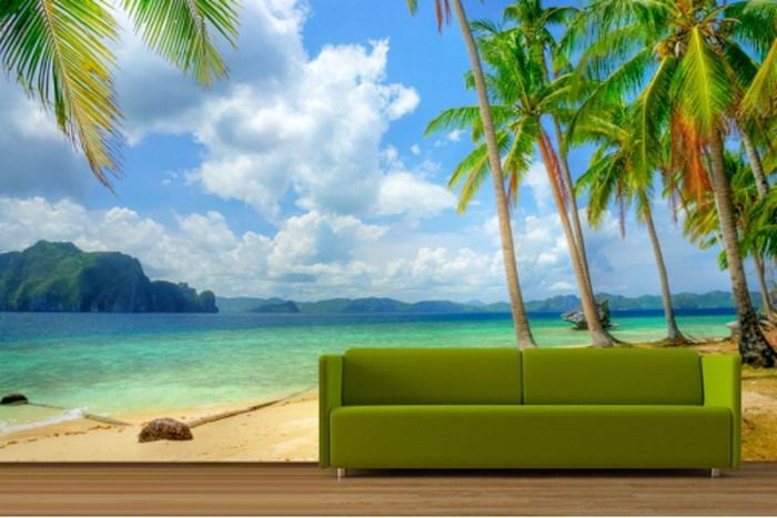 Tropical beach wall mural decor beach house condo for Beach mural for wall