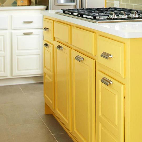 kitchens with 2 colored cabinets | Want To Amp Up a Neutral Kitchen? Try a Bright Yellow Island Kitchen ...