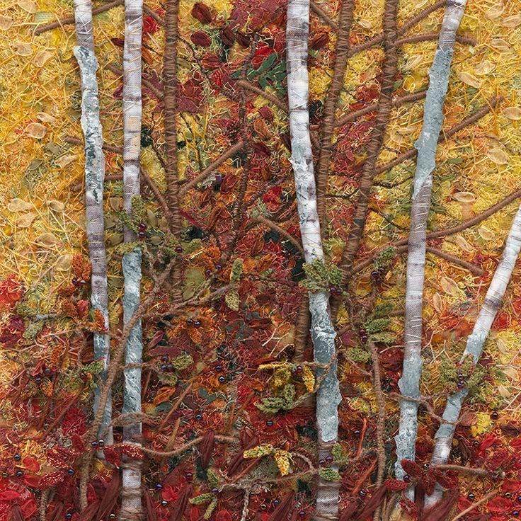 Crabtree art, thread art birch trees.