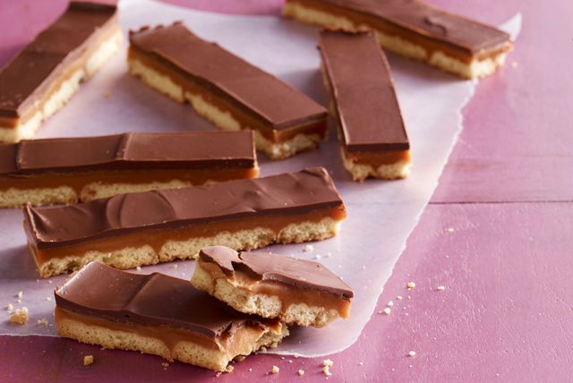 Shortbread cookies are layered with caramel and chocolate and then cut into bars in this homemade version of a crunchy candy bar.