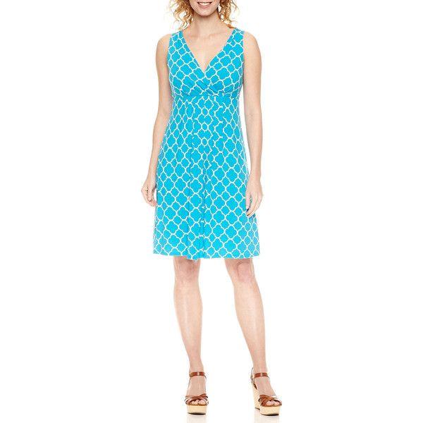 St. John's Bay Sleeveless Sundress ($25) ❤ liked on Polyvore featuring dresses, sun dresses, blue sundress, sleeveless dress, st. john's bay and blue dress