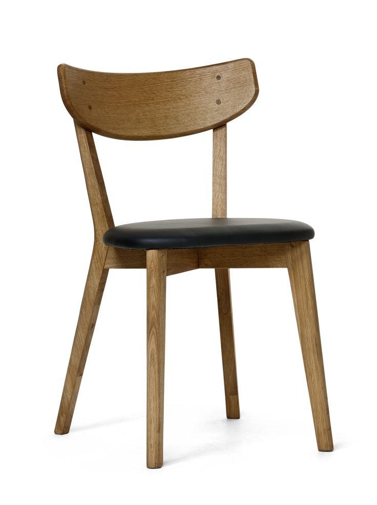 Retro stol i lättskött lackerad massiv/fanerad ek. Sits i praktisk läderimitation. Komplettera gärna med tillhörande matbord, förvaringsmöbler samt soffbord och mediabänk.