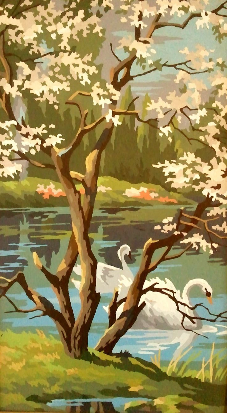 Craft master paint by number kits - Vintage Paint By Numbers Swans On A Pond