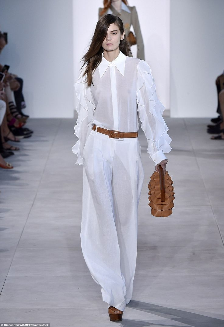 Top Model: Dasha Denisenko dressed all in white for the Michael Kors show at New York Fashion Week
