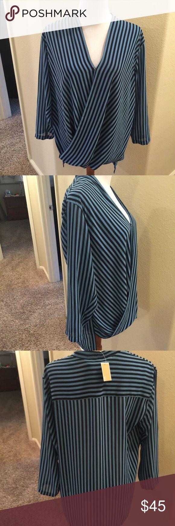NWT MK striped blouse M Cute blue stripe blouse MK Size M 100% polyester Michael Kors Tops Blouses