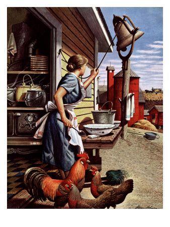 """""""Dinner Bell,"""" October 21, 1944  Giclee Print  by Stevan Dohanos"""