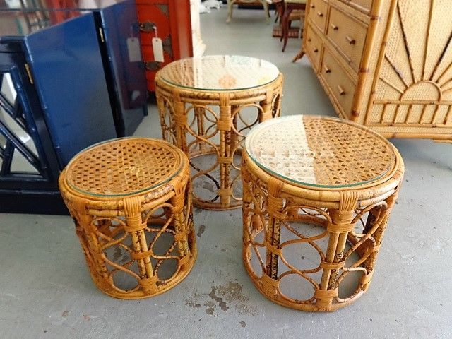 rattan nesting drum tables for the living room circa who new arrivals pinterest rattan. Black Bedroom Furniture Sets. Home Design Ideas