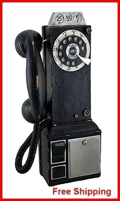 Black Vintage Pay Telephone Retro Coin Bank Wall Kitchen Phone Rotary Dial Gift  #BlackVintagePayTelephone
