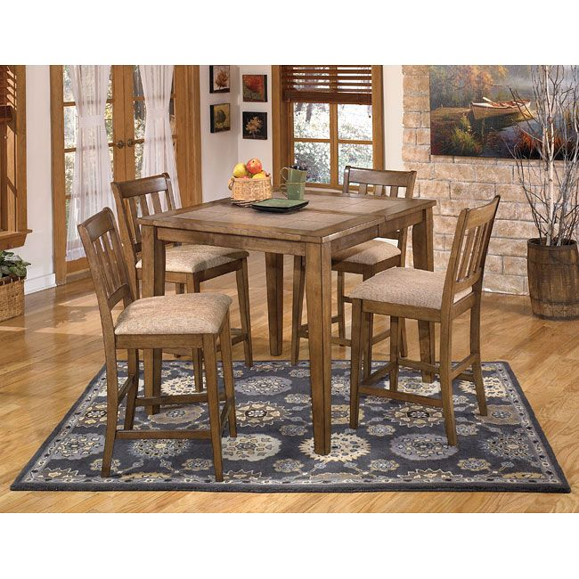 The Brazenton Dining Room Set By Signature Design Ashley Furniture Features A Stylish Butcher Block