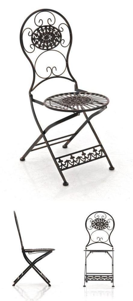 Antique Metal Patio Chair Bronze Folding Vintage Seat Garden Bistro Furniture