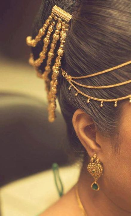 Traditional gold hair accessory #indian #bridal