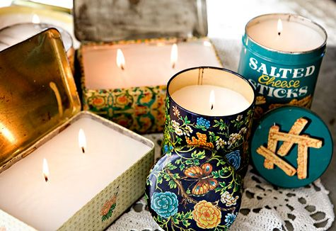 DIY Vintage Tin Candles  Use the wax from old and unused candles and melt them down and turn it into a new candle in a awesome vintage tin! You can usually find old tins at thrift stores and flea markets for a few bucks.  How to via designsponge