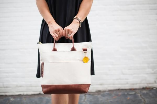Handbag Made from NaturalCanvas + Genuine Brown Leather The Otto is one of R.Riveter's most popular and versatile handbags. With an adjustable crossbody strap