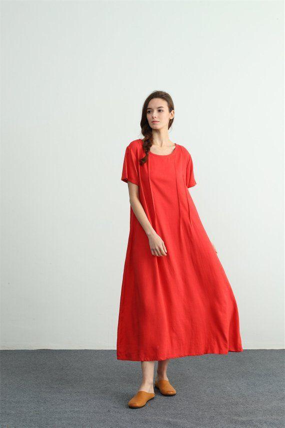 Women/'s linen maxi dress Short Sleeves Summer cotton linen dress kaftan oversize bridesmaid dress plus size clothing Washed linen dress A40B