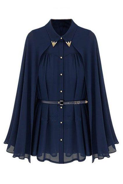 マント ベルト付きプリーツ濃紺ブラウス ¥3,299
