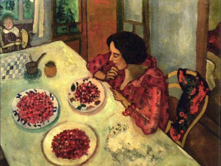 'Strawberries Bella and Ida at the Table',  - 45 x 59 cm - 1916 -  Oil On Canvas by Marc Chagall (1887-1985, Belarus)