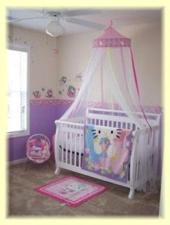 Hello Kitty Nursery Idea: I fell in love with this Hello Kitty Nursery idea as soon as I saw it - I'm so pleased to be able to share it with you! Thanks Holly.  The thing that sets