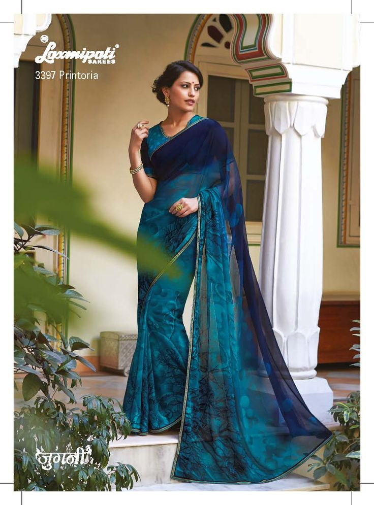The USP of this magnificent saree is the beautiful polka dots prints, wavy tree branches prints and its catchy colors- royal blue,steel blue pedding.
