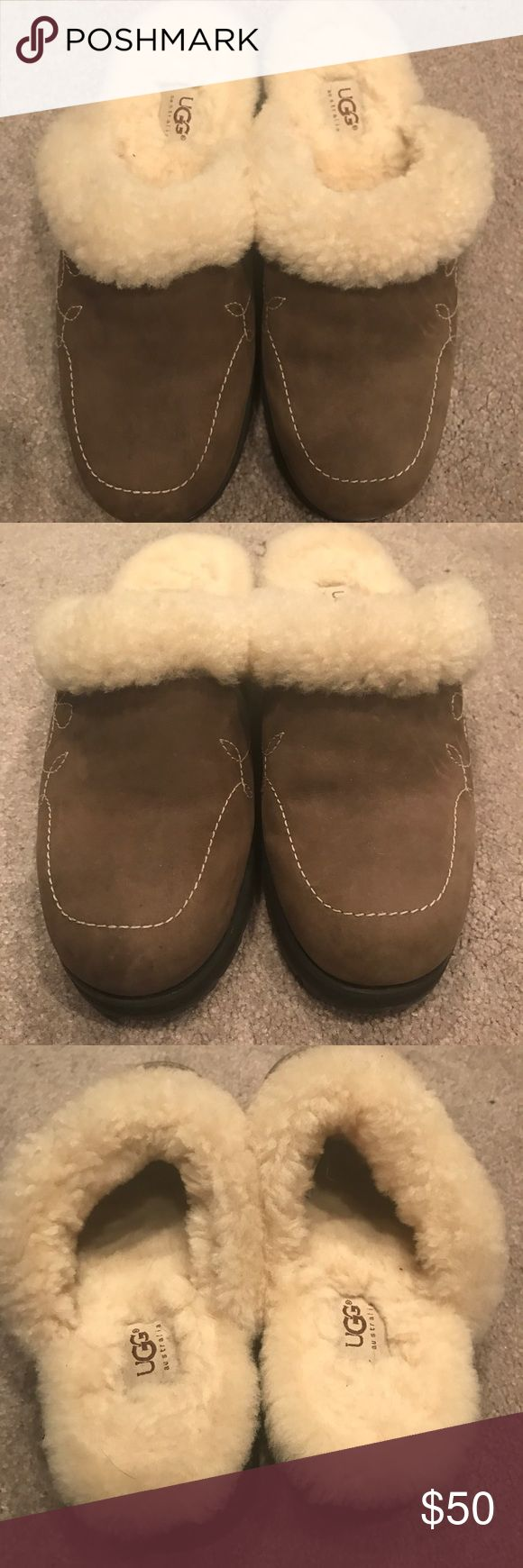 "UGG Chestnut Slip On Shoes Size 10 Authentic UGG Chestnut Slip On Shoes Size 10, Fur & Shoes In Great Condition, Block Heel Measures 1 3/4"" UGG Shoes Mules & Clogs"