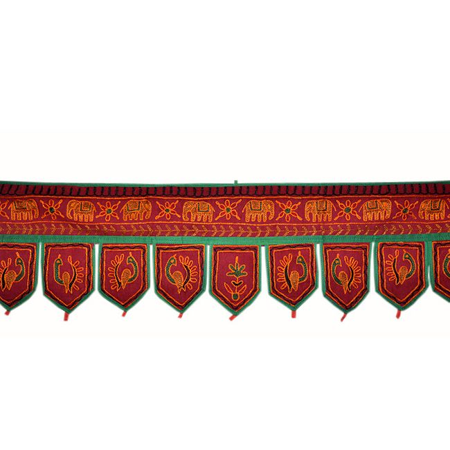 Home decorative Door hanging With Embroidered Product Code :Peacock Door Hangings72 Size: 10 X 38 Inches * Color: Maroon * Fabric: Cotton Here we Present a beautiful Door hanging with very creative Embroidery work. Fine quality cotton fabric make this Door Hanging attractive and well-favored.$6.11