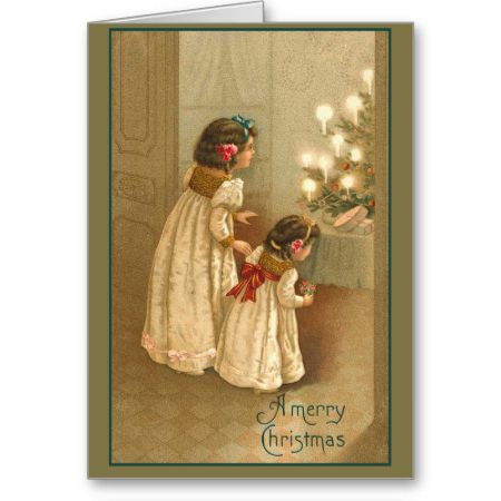 A Merry Christmas With Two Victorian Girls Cards