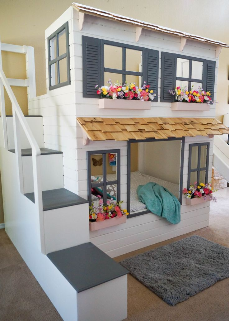 The Ultimate Custom Dollhouse Loft or Bunk bed, Trundle, Slide, Step Block Stairs w/ built-in storage are options! by Dangerfield !Woodcraft