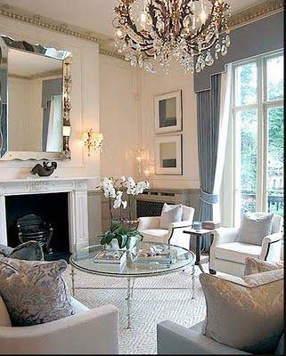 Beautiful Blue & white glamorous living room