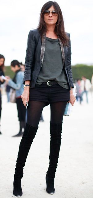 Emmanuelle Alt in shorts and over the knee boots ~ chic!