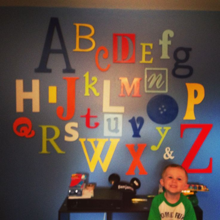 Ideas for Kaleb's 3 year old room...Alphabet wall - bright and primary