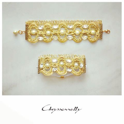 WEDDING | Chryssomally || Art & Fashion Designer - A unique bridal set, bracelet and hair piece, with Swarovski crystals and pearls on gold lace