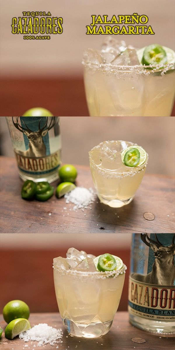 The Cazadores Jalapeño Margarita  Ingredients: 1 ½ parts Cazadores Blanco ½ part premium triple sec ½ part agave nectar 1 part fresh lime juice 1 slice of jalapeño  Salt the rim of a chilled 12oz rocks glass. Add all the ingredients to a shaker and shake. Strain over fresh ice and garnish with a wedge of lime.