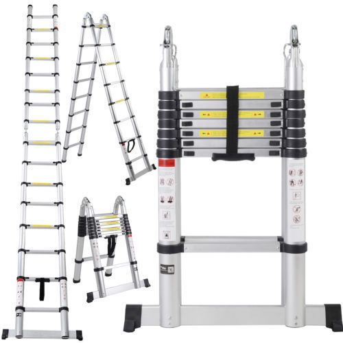 (Silver) Telescoping Extension Ladder Tall Multi Purpose (16.5-foot) (16.5FT Telescopic Extension Ladder)