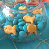 "This is for an ""Under the Sea"" Baby shower, but I dont need it for a baby shower I just think it's a super cute idea lol (diy goldfish crackers)"