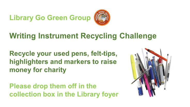 Aston University Library says: 'You can recycle your used pens at Aston Uni Library' #GreenUniLibrary